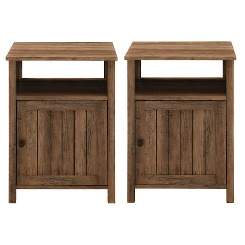 The Gray Barn Groove Door Nightstand, Set of 2