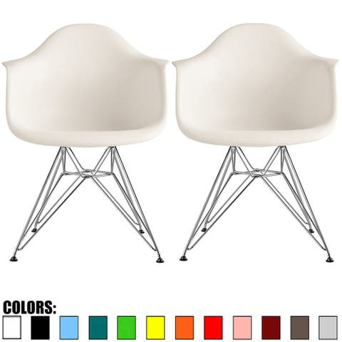 2xhome Set of 2 Plastic Eiffel Molded Shell Retro Dining Chairs Accent For Living Room Kitchen Chrome Desk Designer Office