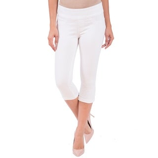 Lola Jeans Michelle-WHT, Mid Rise Pull On Capri With 4-Way Stretch
