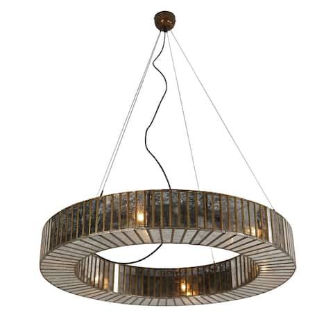 "Bali Boho Round Glass Hanging Pendant Light - 3' x 5"""