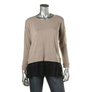 Kensie Womens Jersey Lace Trim Pullover Top - M
