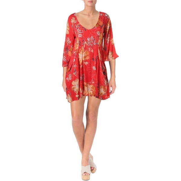 Free People Womens Eyes For You Casual Dress Printed Bell Sleeves