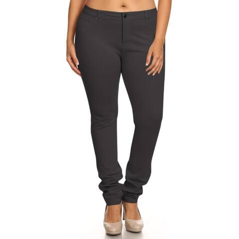 Women's Solid Color Plus Size Casual Zip Up Jean Pants