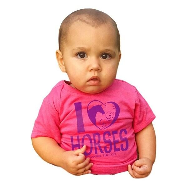 Cowgirl Tuff Western Shirt Girls Short Sleeve Tee Crystals Pink