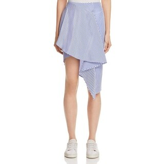 JOA Womens Asymmetrical Skirt Asymmetrical Striped