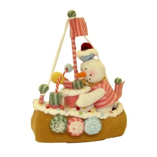 "12.5"" Glittery Pastel Plush Christmas Candy Snowman On Sailboat"
