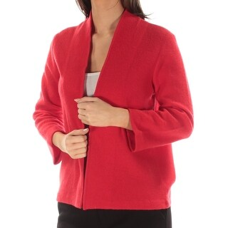 ANNE KLEIN $119 Womens New 1318 Red Open Cardigan 3/4 Sleeve Sweater S B+B