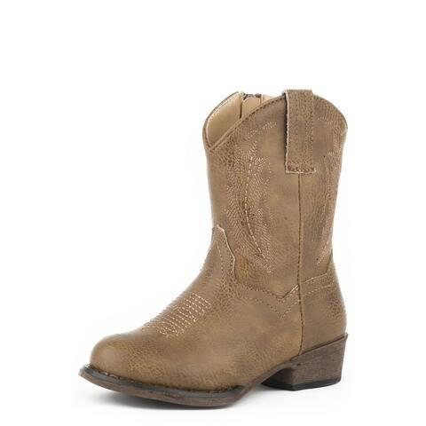 Roper Western Boots Girls Taylor Zip Tan