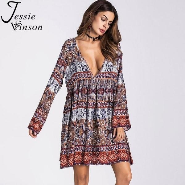 Shop Jessie Vinson Women Plus Size Ethnic Style V-Neck Long Sleeve ...
