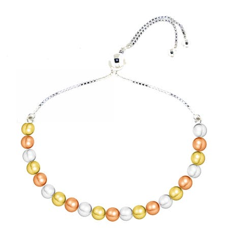 Sterling Silver Yellow & Rose Gold Plated Bead Brac.