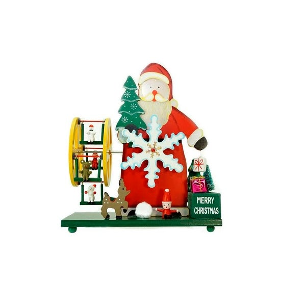 """9.25"""" Wooden Santa Claus and Winter Wonderland """"Merry Christmas"""" Musical Table Top Decoration"""