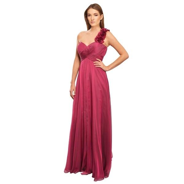 Teri Jon Decadent Rich Silk Chiffon One Shoulder Eve Gown Dress