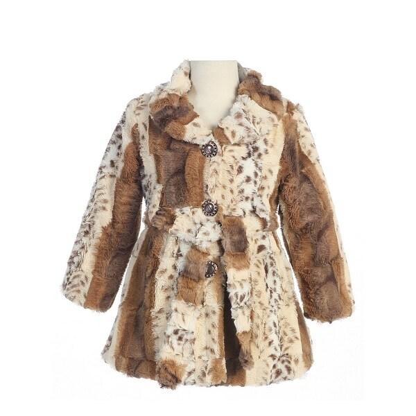 Bijan Kids Girls Tan Brown Animal Print Fluffy Soft Faux Fur Jacket