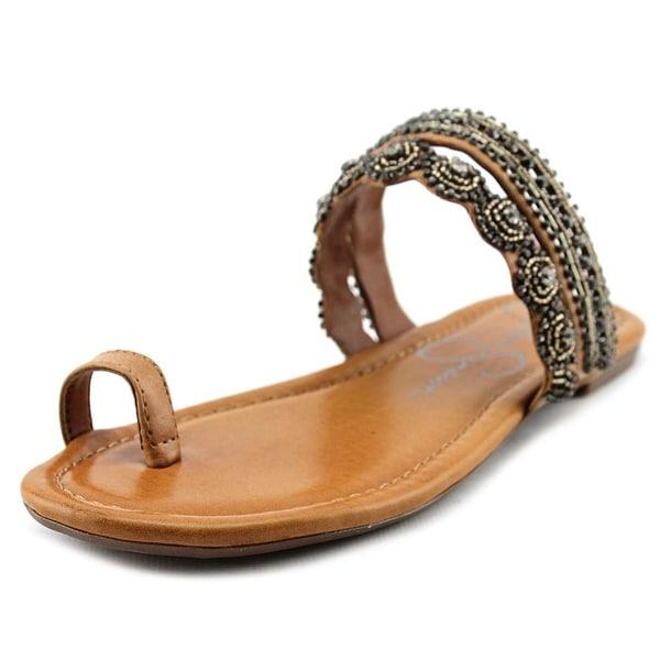 Jessica Simpson Rakelle Women Open Toe Synthetic Tan Slides Sandal