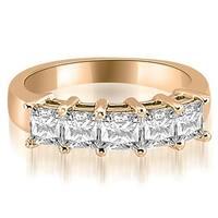 2.00 cttw. 14K Rose Gold Princess Diamond 5-Stone Prong Wedding Band