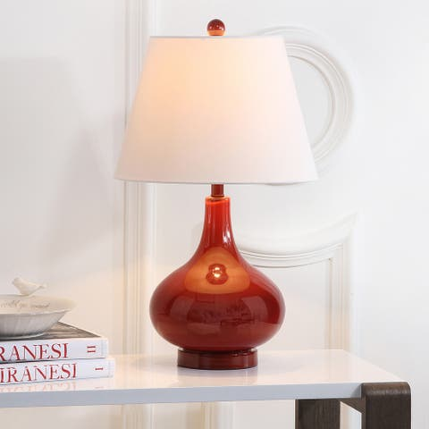 """Safavieh Lighting 24-inch Amy Gourd Glass Red Table Lamp (Set of 2) - 14""""x14""""x24"""""""