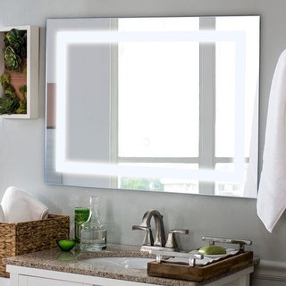 Costway 27.5'' LED Wall-Mounted Rect Mirror Makeup Bathroom Illuminated Mirror W/Touch - as pic