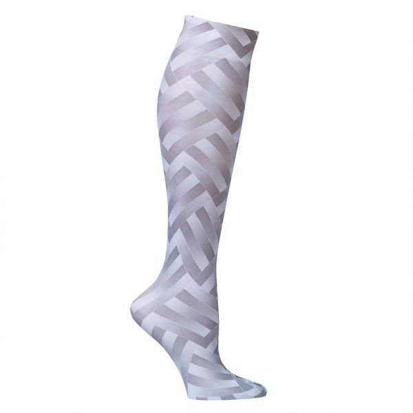 Printed Mild Compression Wide Calf Knee High Stockings - Women's - Grey ZigZag