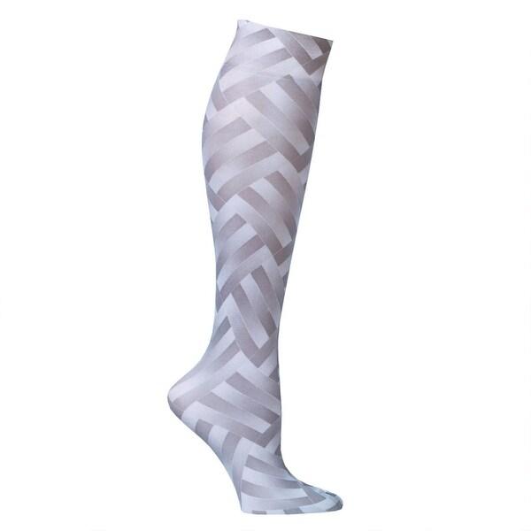 Celeste Stein Women's Mild Compression Knee High Stockings - Grey ZigZag - One size