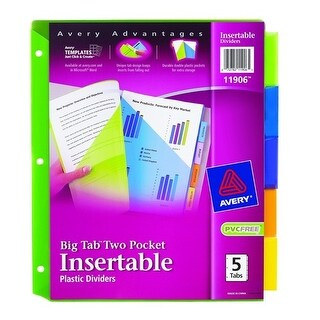 Avery 11906 Big Tab Two Pocket Assorted Colors Dividers 5 Count 2pkt Insrt Plas 5tab