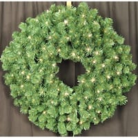 Christmas at Winterland WL-GWSQ-04-LWW 4 Foot Pre-Lit Warm White LED Sequoia Wreath - Warm White - N/A