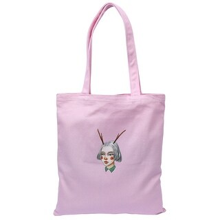 Canvas Girl Pattern Reusable Shoulder Strap Tote Shopping Bag Handbag Pink