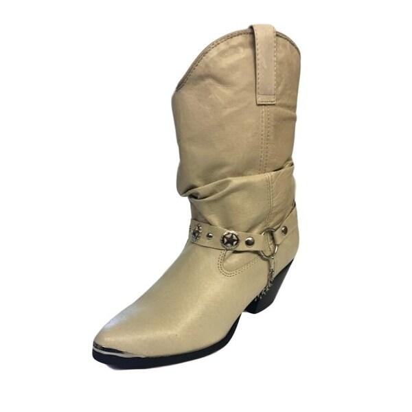 "Dingo Western Boots Womens Olivia Slouch 6"" Dancer Heel Tan DI 526"