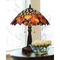 "22.5"" Black and Red Hand Rolled Art Glass Shade Indoor Table Lamp"