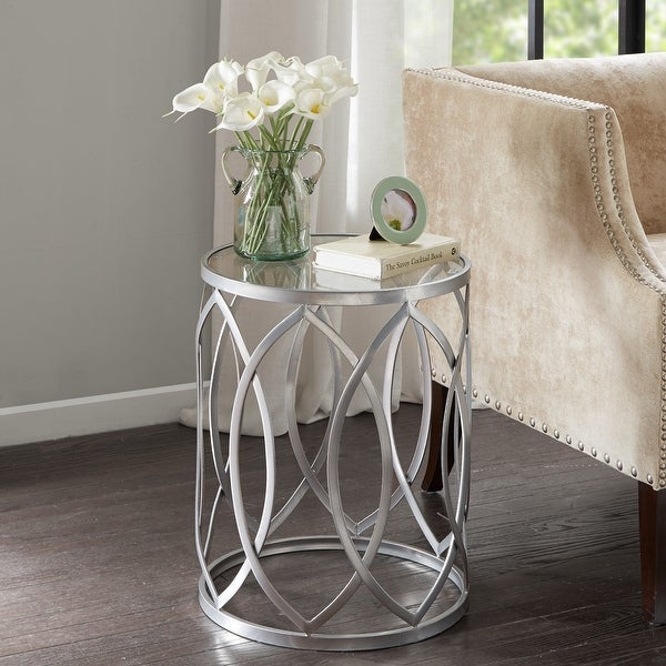 Madison Park Coen Metal Eyelet Accent Drum Table. Opens flyout.
