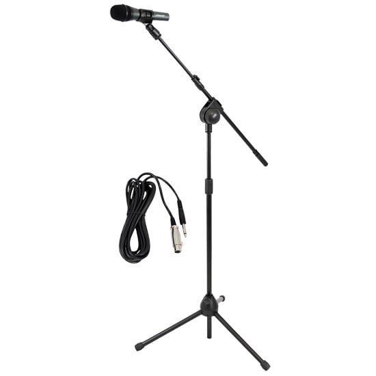 Dynamic Microphone and Tripod Mic Stand, Height Adjustable, Extending Boom, Includes 15' ft. XLR Cable