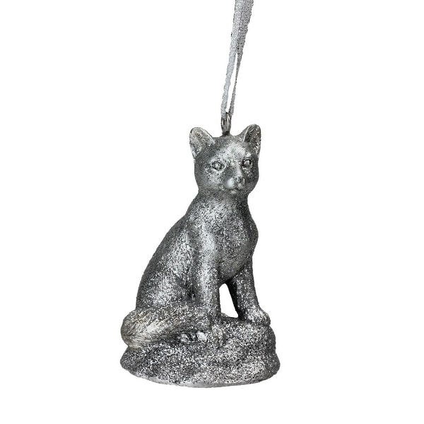 "3.5"" Silver Glittered Snow Fox Decorative Christmas Ornament"