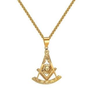 Past Master Masonic Pendant Freemason Compass Sun Square Quadrant Necklace Steel