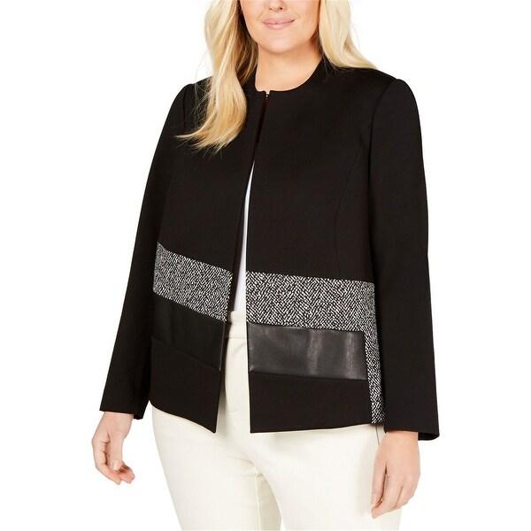 Calvin Klein Womens Collarless Jacket, black, 24W. Opens flyout.