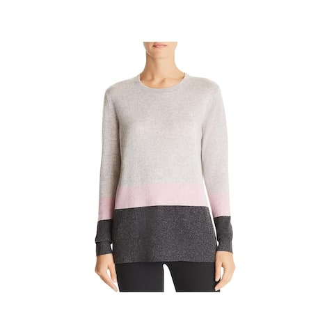 Private Label Womens Pullover Sweater Cashmere Colorblock - Lt Grey - L