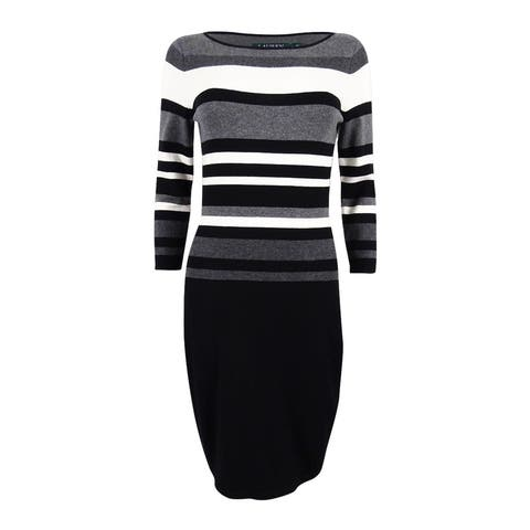 Lauren Ralph Lauren Women's Petite Striped Stretch Dress