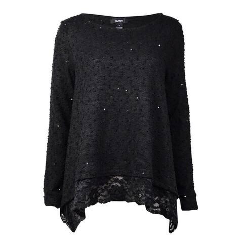 Alfani Women's Textured Sequin Lace Trim Sweater - Deep Black