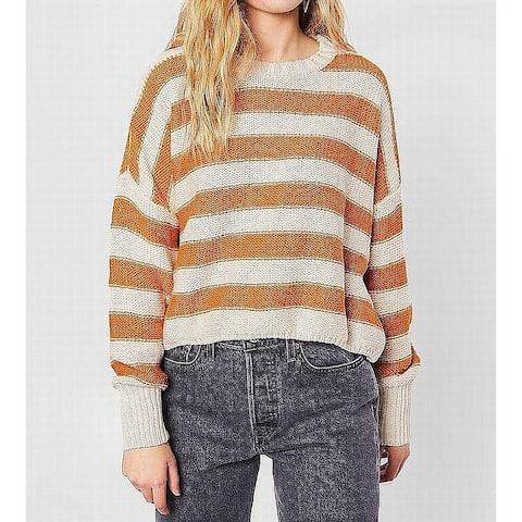 Billabong Womens Sweater Beige Size Large L Sunset Crewneck Striped