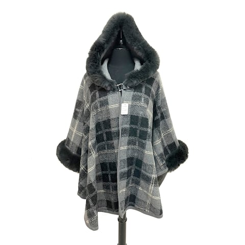Oussum Womens Winter Coat Casual Party Plaid Hoodie Cloak Caps Outwear With Faux Fur Trimmed For Ladies Poncho Tops