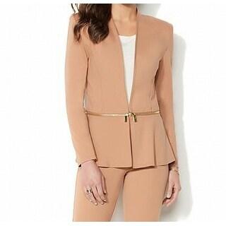 Iman NEW Camel Beige Womens Size Large L Ponte-Knit Convertible Blazer