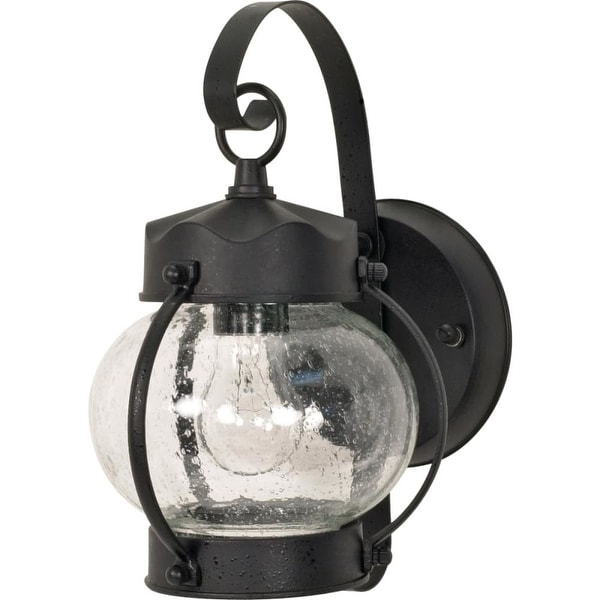 """Nuvo Lighting 60/632 1-Light 10-5/8"""" Tall Outdoor Wall Sconce with Seedy Glass Shade - Textured Black - n/a"""