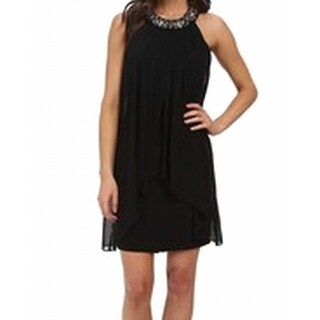 Vince Camuto NEW Black Women's Size 6 Shift Embellished Solid Dress