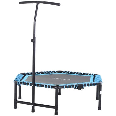 Soozier Portable & Foldable Small Exercise Trampoline with 3-Level Adjustable T-Bar, Great for Adults Working Out