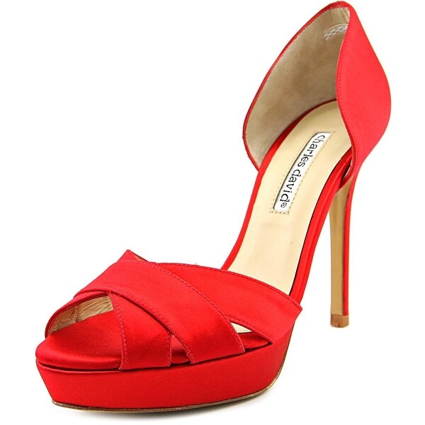 Charles David Seduction Women Open Toe Canvas Red Platform Heel