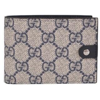 Gucci Men's 281968 Blue Supreme Canvas GG Guccissima Mini Bifold Wallet