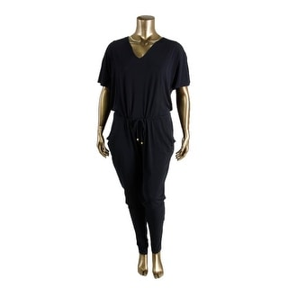 MICHAEL Michael Kors Womens Plus Matte Jersey V-Neck Jumpsuit
