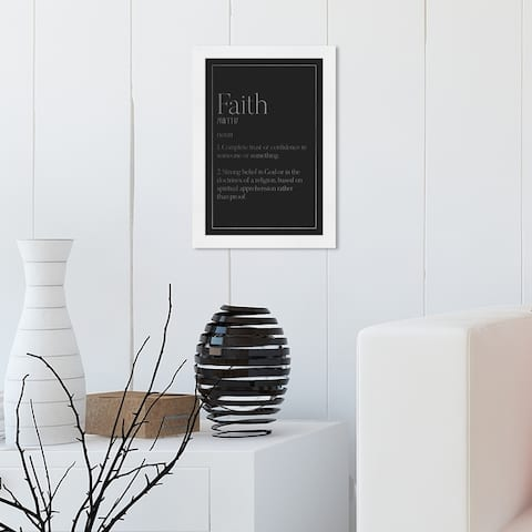 Oliver Gal 'Faith Typography SILVER' Typography and Quotes Wall Art Framed Print Inspirational Quotes and Sayings - Black, Gray