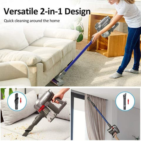 Homitt 2 in 1 Cordless Stick Vacuum Cleaner, Rechargeable Stick and Bagless Handheld Vacuum, for Carpet Pet Hair Floor, Blue