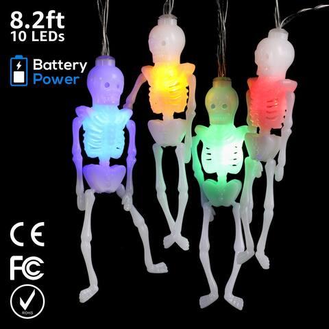 Skeleton Halloween String Lights Indoor/Outdoor, Battery Powered - 1Pack