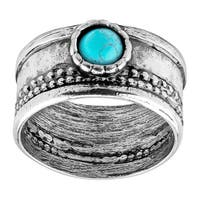 Natural Turquoise Cabochon Band Ring in Sterling Silver