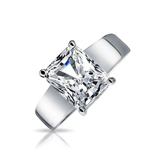 Bling Jewelry Silver Plated Brass 3 ct Radiant Cut CZ Solitaire Engagement Ring